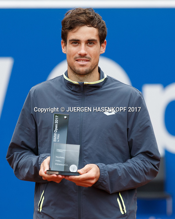Finalist GUIDO PELLA (ARG) mit Pokal, Endspiel, Final, Siegerehrung<br /> <br /> Tennis - BMW Open 2017 -  ATP  -  MTTC Iphitos - Munich -  - Germany  - 7 May 2017.