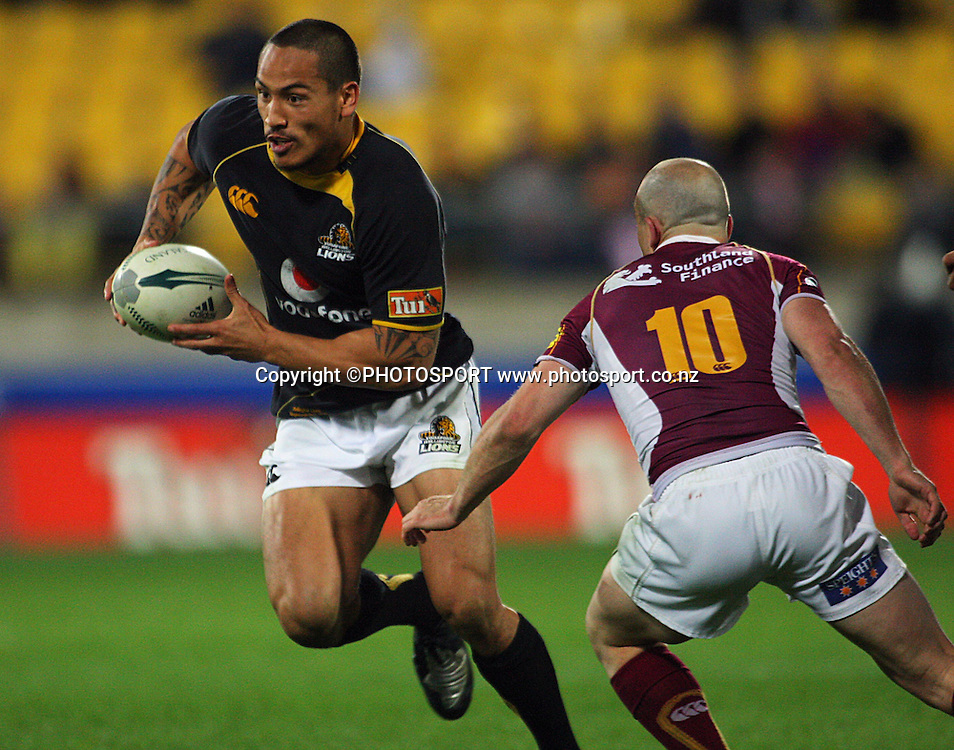 Hosea Gear runs past Blair Stewart.<br /> Air NZ Cup semi-final. Wellington Lions v Southland Stags at Westpac Stadium, Wellington, New Zealand, Friday, 17 October 2008. Photo: Dave Lintott/PHOTOSPORT