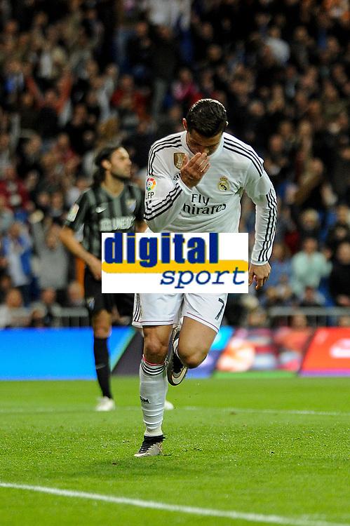 Real Madrid´s Cristiano Ronaldo celebrates a goal during 2014-15 La Liga match between Real Madrid and Malaga at Santiago Bernabeu stadium in Madrid, Spain. April 18, 2015. (ALTERPHOTOS/Luis Fernandez)