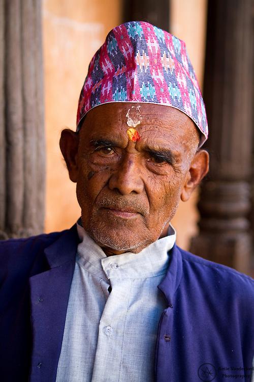 An elderly gentleman at the Pashupatinath Elderly Home in Kathmandu, Nepal.