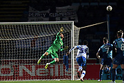 Tranmere Rovers goalkeeper Scott Davies (1) makes an important save during the The FA Cup match between Wycombe Wanderers and Tranmere Rovers at Adams Park, High Wycombe, England on 20 November 2019.