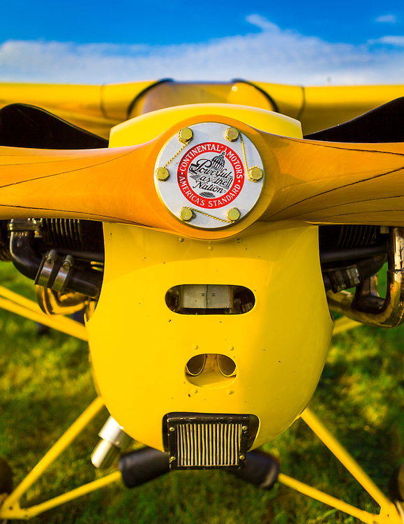 Nose of a Piper J3 Cub, just after landing during the Gathering of Cubs during AirVenture 2012.  Oshkosh, Wisconsin.