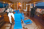 "Captain Axel Rittig having fun dancing and singing with passengers during their first evening aboard the ""Lili Marleen"" (luxurious sailing ship of Deilmann Cruises)."
