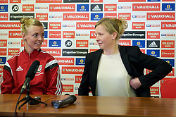 CARDIFF, WALES - Thursday, February 19, 2015: Wales women's team manager Jayne Ludlow and captain Sophie Ingle during a press conference ahead of the 2015 Istria Cup at the FAW HQ in Cardiff. (Pic by Carl Robertson/Propaganda)