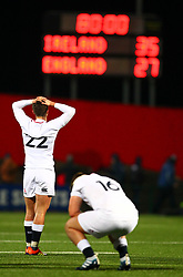 Cameron Redpath and Ben Atkins of England U20 are dejected at the final whistle  - Mandatory by-line: Ken Sutton/JMP - 01/02/2019 - RUGBY - Irish Independent Park - Cork, Cork - Ireland U20 v England U20 -