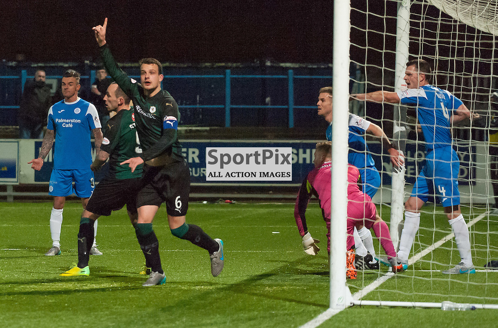 #6 Kyle Benedictus (Raith Rovers) looks for confirmation from the assistant referee that the goal stands<br /> <br /> Queen of the South v Raith Rovers &bull; SPFL Championship &bull; 11 December 2015<br /> <br /> &copy; Russel Hutcheson | SportPix.org.uk