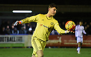 Nathan Baxter looks to set the play during the FA Youth Cup match between U18 AFC Wimbledon and U18 Chelsea at the Cherry Red Records Stadium, Kingston, England on 9 February 2016. Photo by Michael Hulf.