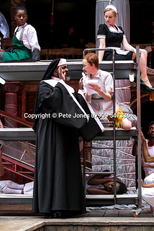Twelfth Night by William Shakespeare;<br /> Directed by Emma Rice;<br /> Le Gateau Chocolat as Feste;<br /> Katy Owen as Malvolio;<br /> Carly Bawden as Maria the maid;<br /> Kandaka Moore ensemble;<br /> Shakespeare's Globe;<br /> London, UK;<br /> 23 May 2017;<br /> © Pete Jones<br />pete@pjproductions.co.uk