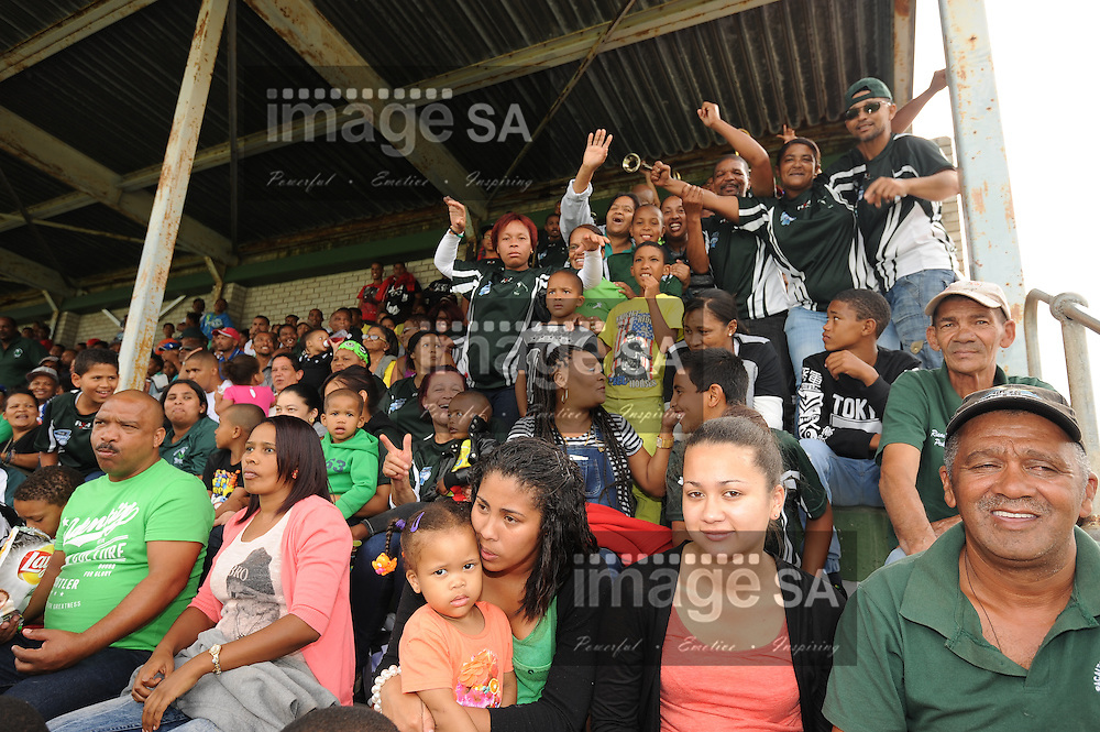 GEORGE, SOUTH AFRICA - Saturday 7 March 2015, Evergreens supporters in the main stand during the third round match of the Cell C Community Cup between Pacaltsdorp Evergreens and Vaseline Wanderers at Pacaltsdorp Sports Grounds, George<br /> Photo by Roger Sedres/ImageSA/ SARU