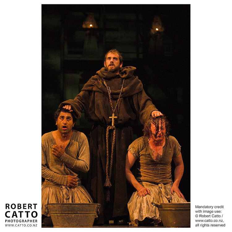 Actors including Cliff Curtis and Mia Blake perform in The Holy Sinner at the Westpac St James Theatre.