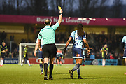 Wycombe Wanderers Midfielder Marcus Bean (8) gets the yellow card during his celebration scoring (4-3) in the 6th minute of extra time during the EFL Sky Bet League 2 match between Wycombe Wanderers and Carlisle United at Adams Park, High Wycombe, England on 3 February 2018. Picture by Stephen Wright.