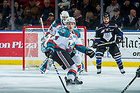 KELOWNA, CANADA - DECEMBER 30: Gordie Ballhorn #4 of the Kelowna Rockets looks for the pass during first period against the Victoria Royals on December 30, 2017 at Prospera Place in Kelowna, British Columbia, Canada.  (Photo by Marissa Baecker/Shoot the Breeze)  *** Local Caption ***