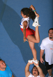 Nika Oman & Danimir Azirovic, Slovenia - Flip during Partner stunt at second day of European Cheerleading Championship 2008, on July 6, 2008, in Arena Tivoli, Ljubljana, Slovenia. (Photo by Vid Ponikvar / Sportal Images).