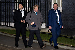 © Licensed to London News Pictures. 07/01/2019. London, UK. Former Foreign and Commonwealth Secretary Boris Johnson (centre) leaving 10 Downing Street after attending a drinks reception in Number 10. British Prime Minister Theresa May is currently trying to persuade MPs to back her Brexit withdrawal deal. MPs will be debating the issue this week, with the postponed vote taking place on Tuesday 15th January. Photo credit : Tom Nicholson/LNP