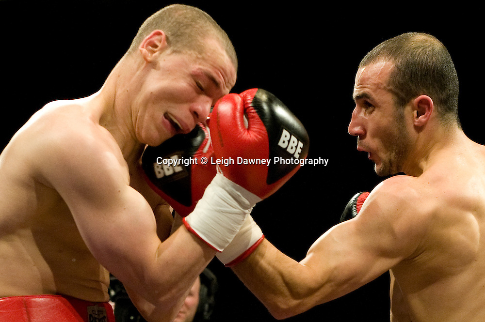 Carl Johanneson (black shorts) defeats Youseff Al Hamidi at the Harvey Hadden Leisure Centre 5th February 2010 Frank Maloney Promotion. Photo credit © Leigh Dawney