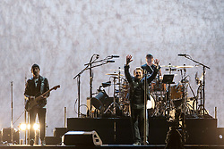 June 4, 2017 - Chicago, Illinois, U.S - THE EDGE, BONO and LARRY MULLEN JR. of U2 during 30th Anniversary of the The Joshua Tree Tour at Soldier Field in Chicago, Illinois (Credit Image: © Daniel DeSlover via ZUMA Wire)