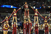 March 19, 2010: The New Mexico State cheerleaders perform during a timeout in a first round game of the 2010 NCAA Tournament between No. 5 Michigan State and No. 12 New Mexico State.