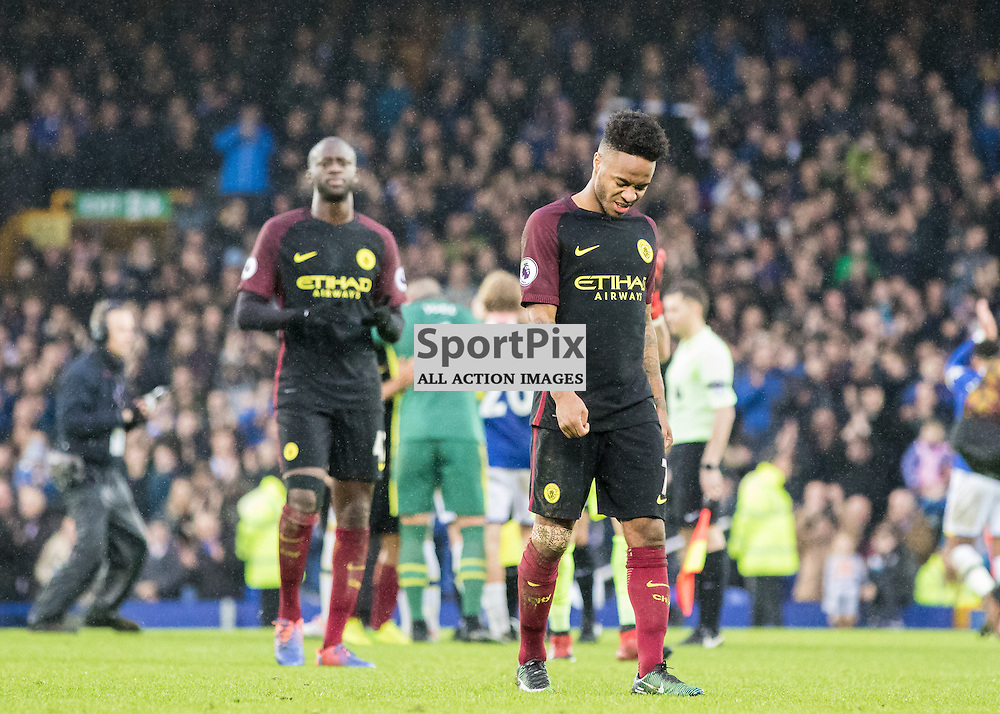 Raheem Sterling of Manchester City and Yaya Toure of Manchester City looking dejected after the final whistle.Everton v Manchester City, Barclays English Premier League, 15th January 2017. (c) Paul Cram | SportPix