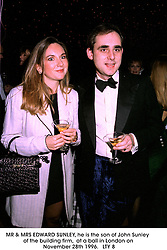 MR & MRS EDWARD SUNLEY, he is the son of John Sunley of the building firm,  at a ball in London on November 28th 1996.  LTY 8