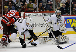 Mar 14, 2007; East Rutherford, NJ, USA;  Pittsburgh Penguins goalie Jocelyn Thibault (41) makes a save during the first period at Continental Airlines Arena in East Rutherford, NJ. Mandatory Credit: Ed Mulholland-US PRESSWIRE Copyright © 2007 Ed Mulholland