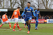 Lyle Taylor of AFC Wimbledon celebrates his goal during the Sky Bet League 2 match between AFC Wimbledon and Luton Town at the Cherry Red Records Stadium, Kingston, England on 13 February 2016. Photo by Stuart Butcher.