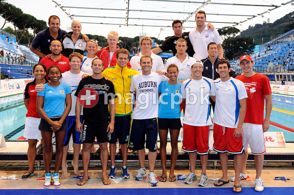 Members of AUBURN Swimming team pose for a photo at the 13th FINA World Championships at the Foro Italico complex in Rome, Italy, Saturday, Aug. 1, 2009. (Photo by Patrick B. Kraemer / MAGICPBK)