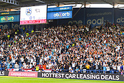 Derby County fans reacts to Tom Lawrence of Derby County (10) first goal during the EFL Sky Bet Championship match between Huddersfield Town and Derby County at the John Smiths Stadium, Huddersfield, England on 5 August 2019.