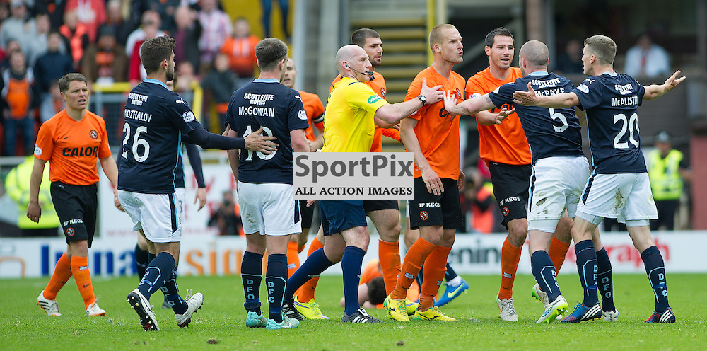 Dundee United v Dundee, SPFL Premiership, Tannadice Park, 24 May 2015<br />Jaroslaw Fojut of United clashes with Dundee's James McAlister during the final Dundee derby of the 2014/15 season at Tannadice Park.<br />ROSS PARKER | SportPix.org.uk
