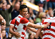 Japan wing Akihito Yamada celebrates his try during the Rugby World Cup Pool B match between Samoa and Japan at stadium:mk, Milton Keynes, England on 3 October 2015. Photo by David Charbit.