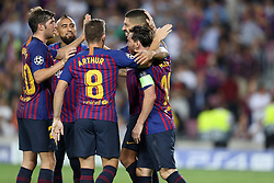 September 18, 2018 - Barcelona, Catalonia, Spain - Lionel Messi of FC Barcelona celebrates with his teammates after scoring his side's fourth goal during the UEFA Champions League, Group B football match between FC Barcelona and PSV Eindhoven on September 18, 2018 at Camp Nou stadium in Barcelona, Spain (Credit Image: © Manuel Blondeau via ZUMA Wire)