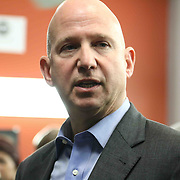 Delaware Gov. Jack Markell answer question from members of the east side community Monday, Jan. 05, 2015 in Wilmington, DE.