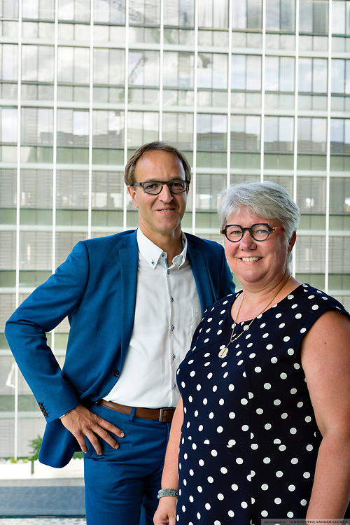 Ghent, Belgium, 7 jun 2017, Candidates for elections for rector and vice-rector: Rik Van de Walle & Mieke Van Herreweghe