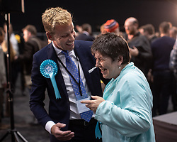 © Licensed to London News Pictures . 26/05/2019. Manchester, UK. DAVID BULL (Brexit Party) and CLAIRE FOX (Brexit Party) . The count for seats in the constituency of North West England in the European Parliamentary election , at Manchester Central convention centre . Photo credit: Joel Goodman/LNP