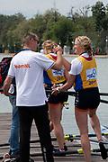 Plovdiv, Bulgaria, 12.05.19, FISA, Rowing World Cup 1, W4-, NED, NED1, (b) HOGERWERF Ellen (2) FLORIJN Karolien (3) CLEVERING Ymkje (s) MEESTER Veronique, Coaches congratulate, crew members, after they won Gold, Finals Day, © Karon PHILLIPS/Intersport Images,