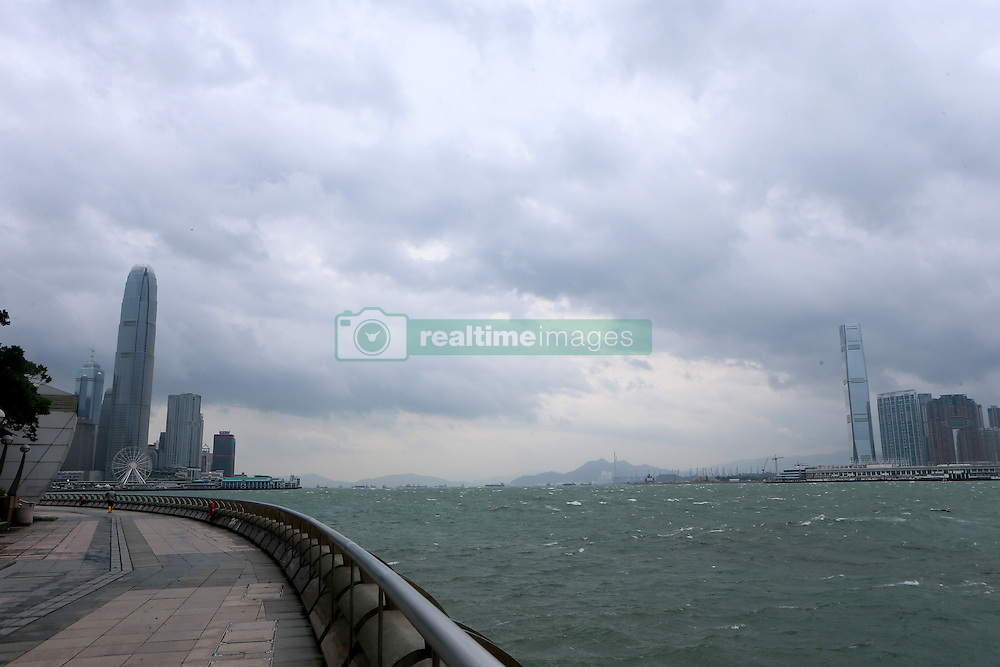 HONG KONG, Oct. 21, 2016 (Xinhua) -- The Victoria Harbour is seen in Hong Kong, south China, Oct. 21, 2016. With the arrival of Typhoon Haima, public transportation was partly suspended and schools were closed in Hong Kong on Friday.  (Xinhua/Li Peng) (zkr) (Credit Image: © Li Peng/Xinhua via ZUMA Wire)