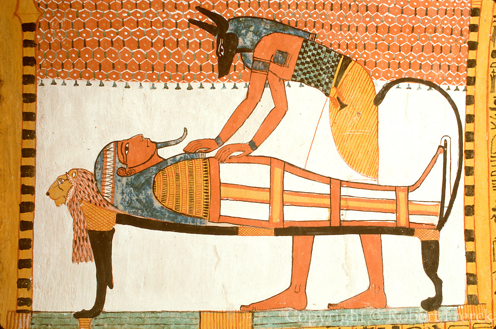 EGYPT, THEBES, WEST BANK Tomb of Sennedjem, Anubis
