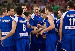 Tripkovic, Teodosic, Krstic, Raduljica of Serbia celebrate after the EuroBasket 2009 Group F match between Serbia and Lithuania, on September 16, 2009 in Arena Lodz, Hala Sportowa, Lodz, Poland.  (Photo by Vid Ponikvar / Sportida)