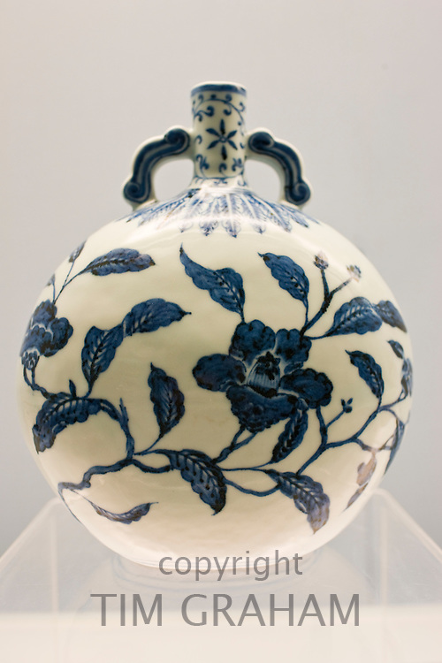 Porcelain vase of Jingdezhen origin on display in the Shanghai Museum, China