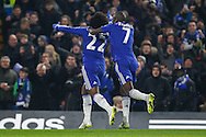 Willian of Chelsea celebrates scoring the opening goal against Watford with Ramires of Chelsea (right) during the FA Cup match at Stamford Bridge, London<br /> Picture by David Horn/Focus Images Ltd +44 7545 970036<br /> 04/01/2015