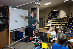 Children attend classes at the Museum of Cosmonautics in Moscow, Russia, April 7, 2016. The Museum of Cosmonautics opens its doors to public on April 10th, 1981, 20th Anniversary of the first manned space flight. Museum exposition gives a retrospect on how space science evolved starting from first man-made satellites subsequently followed by the first manned space flight, first space walks, Moon exploration programs, Solar system exploration programs and international space research programs. EXPA Pictures © 2016, PhotoCredit: EXPA/ Photoshot/ Bai Xueqi<br /> <br /> *****ATTENTION - for AUT, SLO, CRO, SRB, BIH, MAZ, SUI only*****