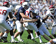 Sept 19, 2009; State College, PA, USA; Penn State defensive end Tom Golarz (39) and linebacker James Van Fleet (54) tackle Temple running back Bernard Pierce (30) during the second half at Beaver Stadium. Penn State beat Temple 31-6. Mandatory Credit: Jason Miller-US PRESSWIRE