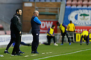Derby County Manager Frank Lampard and Wigan Athletic Manager Paul Cook  during the EFL Sky Bet Championship match between Wigan Athletic and Derby County at the DW Stadium, Wigan, England on 8 December 2018.