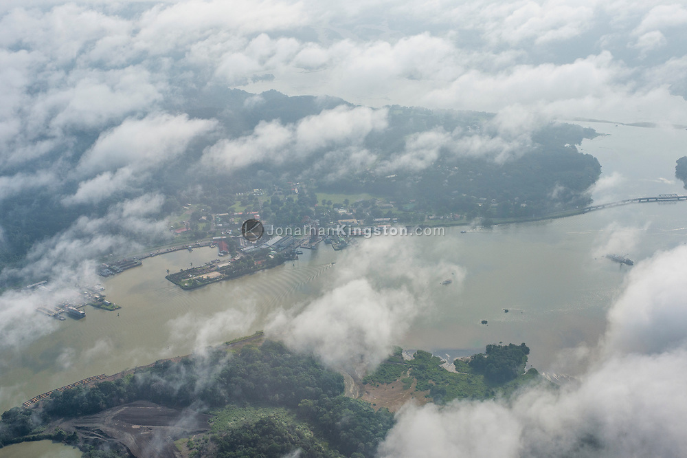 Aerial view of the Panama canal and the Panama Canal Railway in Panama.