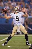 August 23, 2014: New Orleans Saints quarterback Drew Brees (9) passes during a week 3 preseason football game between the Indianapolis Colts vs New Orleans Saints at Lucas Oil Stadium in Indianapolis, IN. NFL American Football Herren USA AUG 23 Preseason - Saints at Colts PUBLICATIONxINxGERxSUIxAUTxHUNxRUSxSWExNORxONLY Icon1408231710<br />