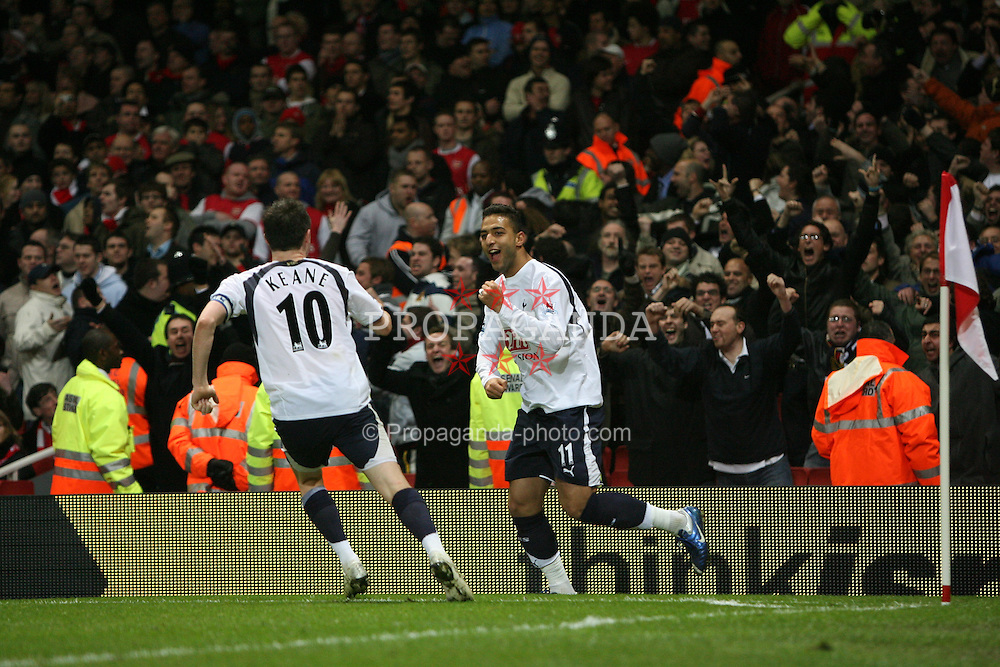 LONDON, ENGLAND - Wednesday, January 31, 2007: Tottenham Hotspur's Hossam Mido celebrates scoring the equalising goal against Arsenal to level the score 1-1 during the Football League Cup Semi-Final 2nd Leg at the Emirates Stadium. (Pic by Chris Ratcliffe/Propaganda)