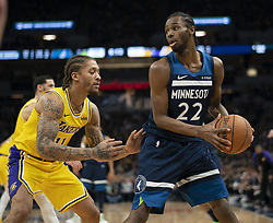 January 6, 2019 - Minneapolis, MN, USA - Minnesota Timberwolves forward Andrew Wiggins (22) looks to pass while guarded by Los Angeles Lakers forward Michael Beasley (11) in the first quarter on Sunday, Jan. 6, 2019 at Target Center in Minneapolis, Minn. The Minnesota Timberwolves defeated the Los Angeles Lakers, 108-86. (Credit Image: © Jeff Wheeler/Minneapolis Star Tribune/TNS via ZUMA Wire)