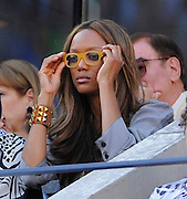 09.SEPTEMBER.2012. NEW YORK<br /> <br /> TYRA BANKS ATTENDS USA'S SERENA WILLIAMS DEFEATING BELARUSSIA'S VICTORIA AZARENKA AND WINNING THE 2012 US OPEN CHAMPIONSHIPS IN NEW YORK CITY. <br /> <br /> BYLINE: EDBIMAGEARCHIVE.CO.UK<br /> <br /> *THIS IMAGE IS STRICTLY FOR UK NEWSPAPERS AND MAGAZINES ONLY*<br /> *FOR WORLD WIDE SALES AND WEB USE PLEASE CONTACT EDBIMAGEARCHIVE - 0208 954 5968*