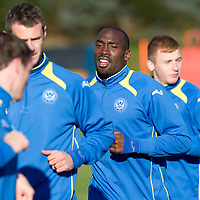St Johnstone Training...26.10.12 <br /> Gregory Tade pictured in training this morning ahead of tomorrow's game against his old club Inverness.<br /> Picture by Graeme Hart.<br /> Copyright Perthshire Picture Agency<br /> Tel: 01738 623350  Mobile: 07990 594431