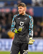 Freddie Woodman (27) of Swansea City during the EFL Sky Bet Championship match between Swansea City and Middlesbrough at the Liberty Stadium, Swansea, Wales on 14 December 2019.