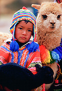 Peruvian boy with black lamb and llama,  Peru, South America